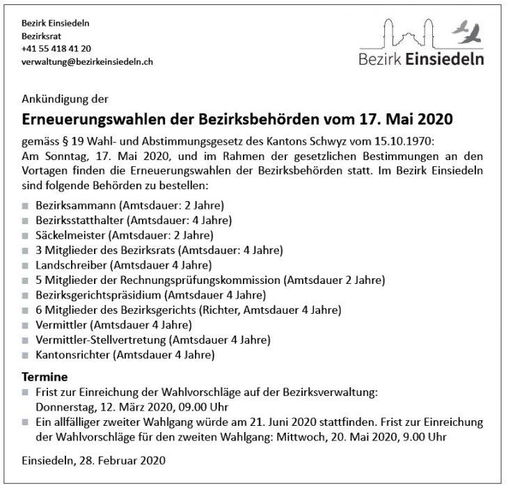 Erneuerungswahlen der Bezirksbehörden vom 17. Mai 2020