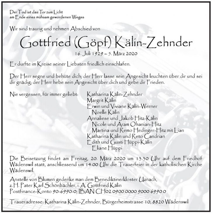 Gottfried (Göpf) Kälin-Zehnder