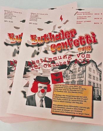 keine neue Ausgabe der Fasnachtszeitung  zu realisieren. Während 20  Jahren berichtete das «Euthaler-  Confetti»