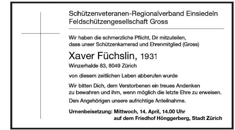 Xaver Füchslin, 1931