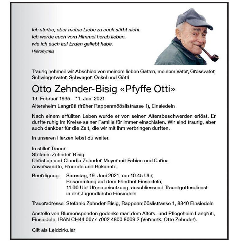 Otto Zehnder-Bisig «Pfyffe Otti»