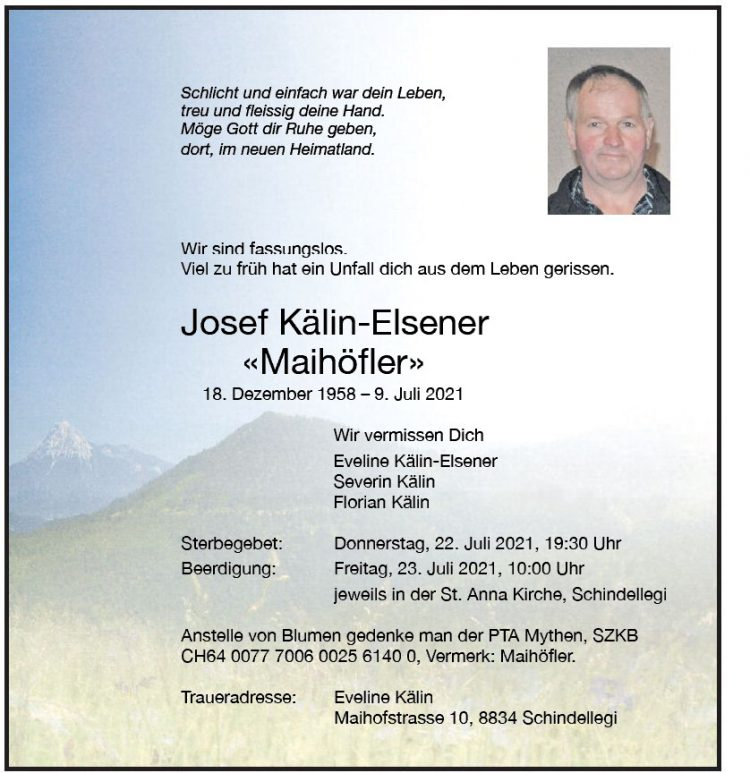 Josef Kälin-Elsener  «Maihöfler»