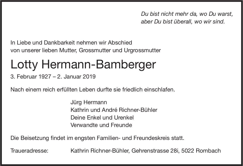 Hermann-Bamberger Lotty, Januar 2019 / TA