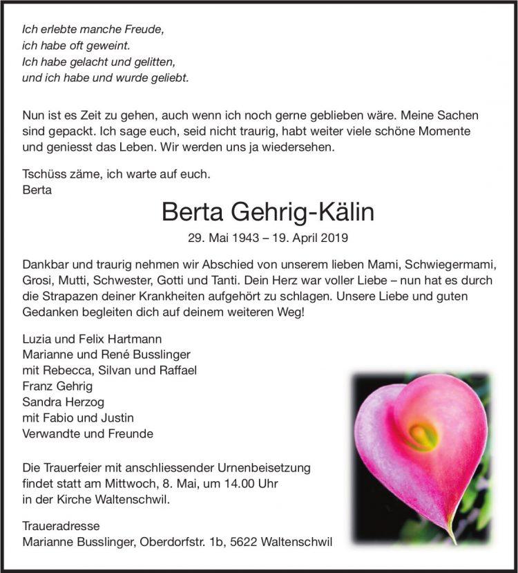 Gehrig-Kälin Berta, April 2019 / TA