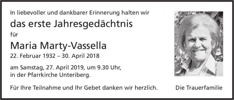 Marty-Vassella Maria, im April 2019 / JG