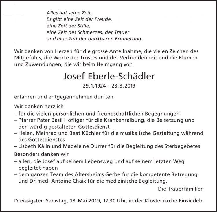 Eberle-Schädler Josef, im Mai 2019 / DS