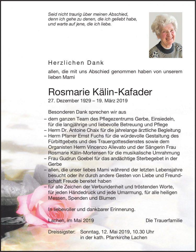 Kälin-Kafader Rosmarie, im Mai 2019 / DS