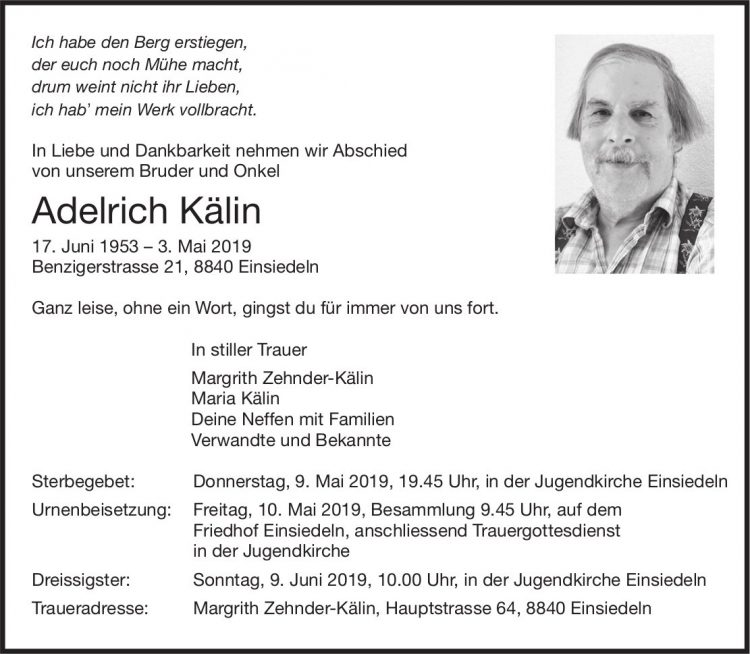 Kälin Adelrich, Mai 2019 / TA