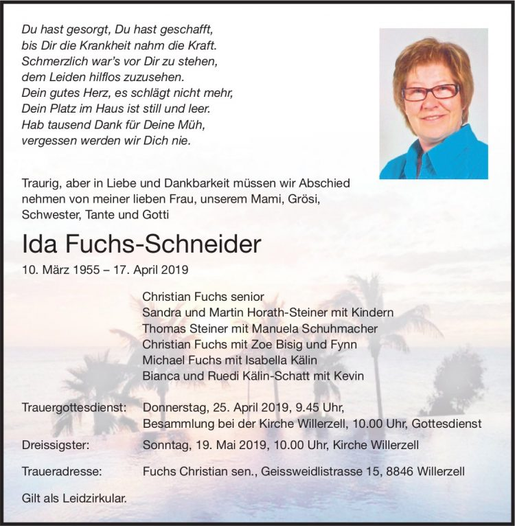 Fuchs-Schneider Ida, April 2019 / TA