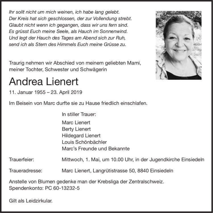 Lienert Andrea, April 2019 / TA