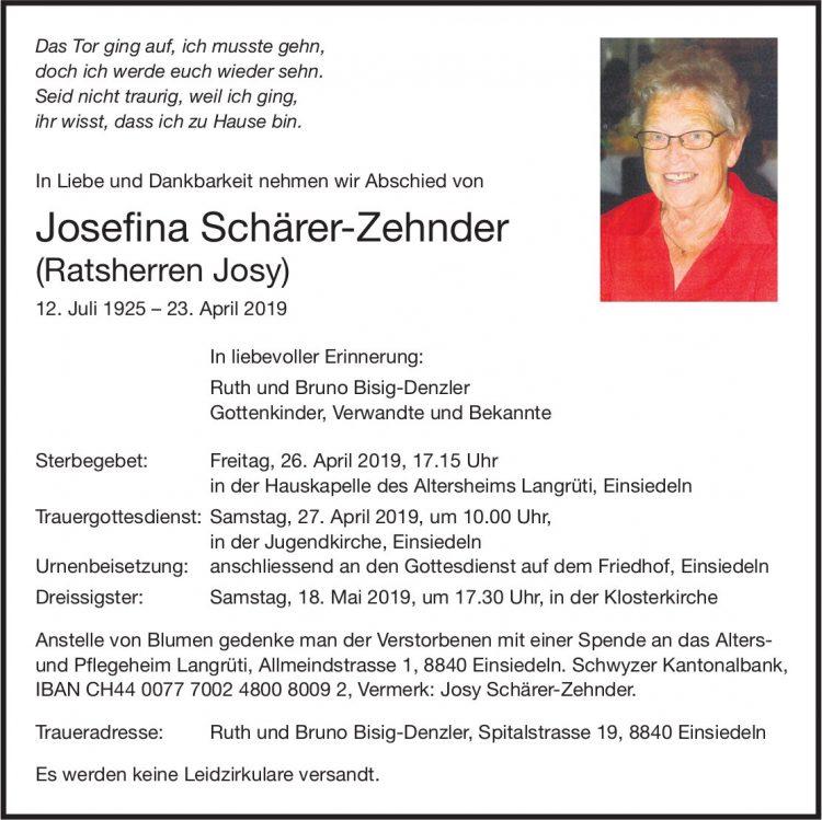 Schärer-Zehnder  Josefina (Ratsherren Josy), April 2019 / TA
