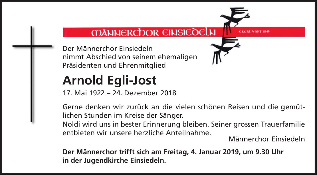 Egli-Jost Arnold, Dezember 2018 / TA