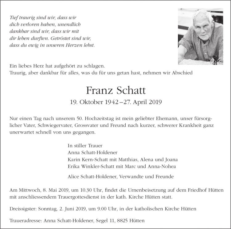 Schatt Franz, April 2019 / TA