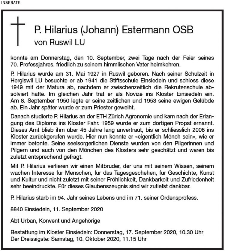 P. Hilarius (Johann) Estermann OSB