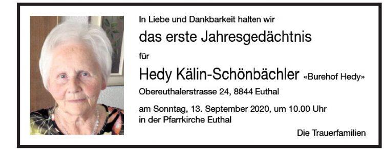Hedy das erste Jahresgedächtnis Kälin-Schönbächler