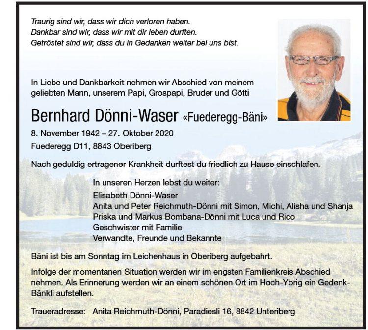 Bernhard Dönni-Waser «Fuederegg-Bäni»