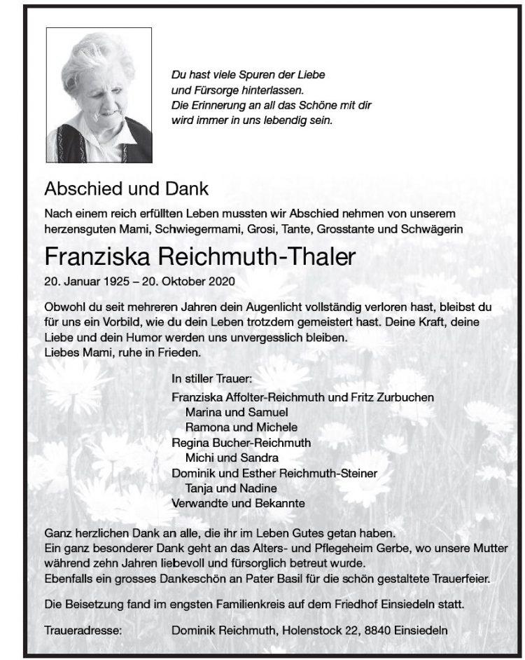 Franziska Reichmuth-Thaler